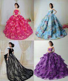 4 x Fashion Princess Dress/Wedding Clothes/Gown For Barbie Doll Barbie Wedding Dress, Barbie Gowns, Barbie Dress, Barbie Clothes, Barbie Doll, Wedding Dresses, Barbie Stuff, Gown Pattern, Dress Patterns