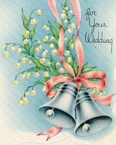 Vintage Unused Greeting card Wedding-Congratulations to both of you Vintage Wedding Cards, Vintage Wedding Invitations, Vintage Greeting Cards, Wedding Greetings, Wedding Congratulations, Wedding Bells Clip Art, Wedding Anniversary Cards, Card Wedding, Wedding Vows