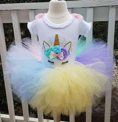 pastel rainbow girls unicorn face, 3D flowers and embroidery, birthday shirt and fluffy tutu