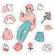 Stickers Cool, Stickers Kawaii, Preppy Stickers, Tumblr Stickers, Anime Stickers, Printable Stickers, Journal Stickers, Scrapbook Stickers, Arte Do Kawaii