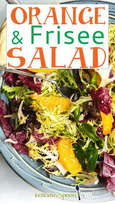 This light, crisp Orange and Frisee Salad features frisee lettuce, radicchio, capers and feta cheese and more topped with an easy orange salad dressing. Perfect for a quick, refreshing lunch on a hot summer day. As we head into summer and warmer weather (finally!), I find myself focusing more on light and healthy meals vs the comfort foods I love during the winter. | @thedeliciousspoon #springsaladrecipes #mothersdayrecipes Best Salad Recipes, Salad Dressing Recipes, Lunch Recipes, Veggie Recipes, Main Dish Salads, Dinner Salads, Clean Eating Salads, Healthy Salads