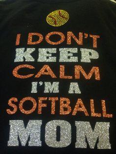 Rhinestone and glitter softball Mom tshirt by TripleMEmbroidery, $22.00