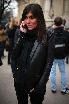 Emanuelle Alt. Love her. Leather blazer!