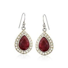 1.25 ct. t.w. White Topaz and 10.20 ct. t.w. Ruby Earrings In Sterling Silver