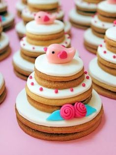 Cookies that look like sweet, little wedding cakes.