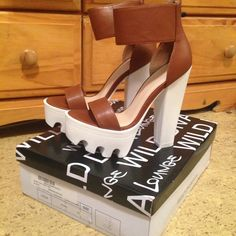 Go Jane. Cleated Brown Heels ❗️PRICE FIRM❗️Ordered off GoJane. Brand: Wild Diva. Worn 1x for maybe 45min max. Don't like the way they look on my feet. ️️- NOT STEVE MADDEN, just for exposure ! Steve Madden Shoes Heels