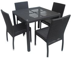 Secondhand Chairs and Tables | Outdoor Furniture | Aluminium Framed Rattan / Wicker Dining Set - Free UK Delivery