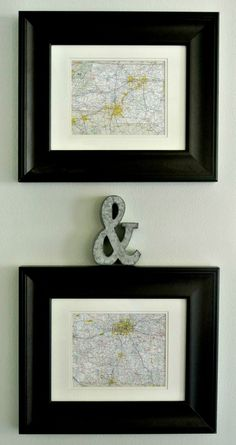 framed maps of where the couple are from makes for great art!