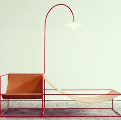 Minimal chair lamp hammock combo by muller van severen