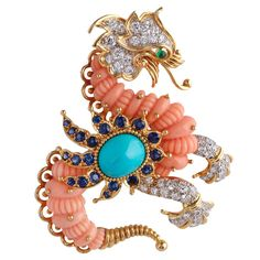 Cartier Coral/Turquoise Diamond Griffin Brooch