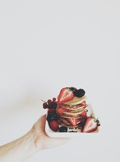 fresh fruit on pancakes