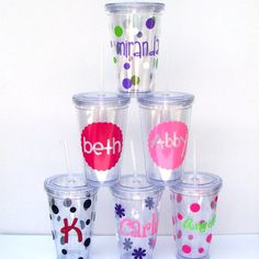 Set of 6 Personalized Insulated Acrylic Tumblers with Lids and Straws. $60.00, via Etsy.