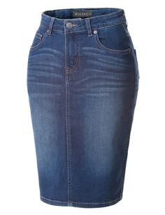 This high waisted denim pencil skirt with stretch is the new basic that every woman should own. Made from a lightweight and stretchy material for comfort, this skirt goes perfectly with crop tops or blouses. Wear it from day to night by pairing it with sexy heels. Feature - 60% Cotton / 21% Viscose / 18% Polyester / 1% Spandex - Soft, super stretchy material for all-day comfort - Front and back pockets for convenience / Back Slit / Features belt loops - Zip up with single button closure…