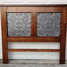 Pine Headboard with Tin Tile Inserts