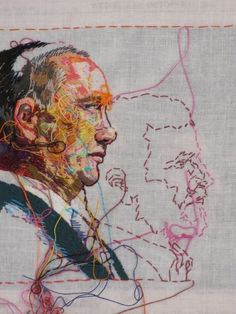 "i am in absolute awe of her needlework ""Vladimir Putin"" Hand-embroidery on cotton muslin upholstered around the October 2007 edition of The New York Times by Lauren DiCioccio Inspiration Art, Art Inspo, Art Fil, Kunst Online, Contemporary Embroidery, Textiles, Thread Art, A Level Art, Art Plastique"
