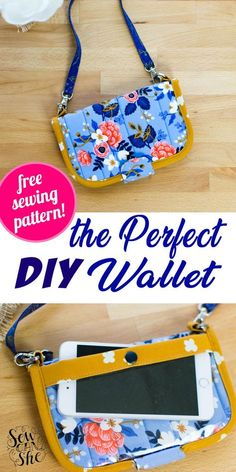 Diy Wallet Purse, Diy Wallet No Sew, Coin Wallet, Diy Phone Pouches, Diy Wallet Easy, Simple Wallet, Bag Patterns To Sew, Sewing Patterns Free, Free Sewing