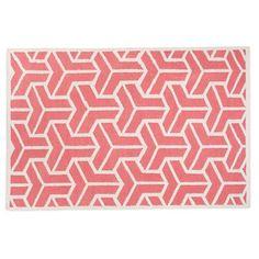 pink + white geometric pattern wool rug