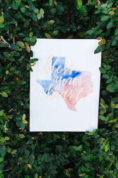 Bless Your Heart Texas Watercolor Print Texas by camelandbirdie