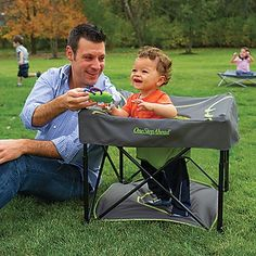 Why restrict your little wiggleworm in a baby seat when he'd love to stretch those busy legs? Our lightweight confiner lets baby stand, but—unlike bulky play saucers—folds for easy travel!