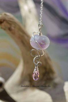 Pink Sea Salt necklace by SaddlersMaineMade on Etsy