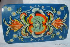 @Leslie Priddy Priddy Vintage  Vintage Rosemaling Folk Art Norwegian tin  Stunning!!