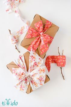 How to Make Fabric Ribbon | TikkiDo.com.   Good way to use up fabric left over from projects