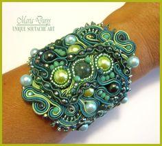 """Bracciale """"Eucalyptus"""" by Maria Durys Cuff Bracelets, Jewelery, My Style, Fashion, Italia, Blue Prints, Soutache Jewelry, Jewlery, Moda"""