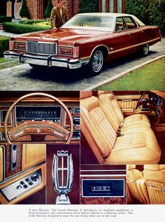 Classic American Cars from the and in the Brougham Style. Buick Electra, Lincoln Continental, Chrysler New Yorker, Vintage Cars, Antique Cars, Mercury Marquis, Ford Ltd, Mercury Cars, Grand Marquis