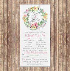 faire part mariage avec fleur et programme