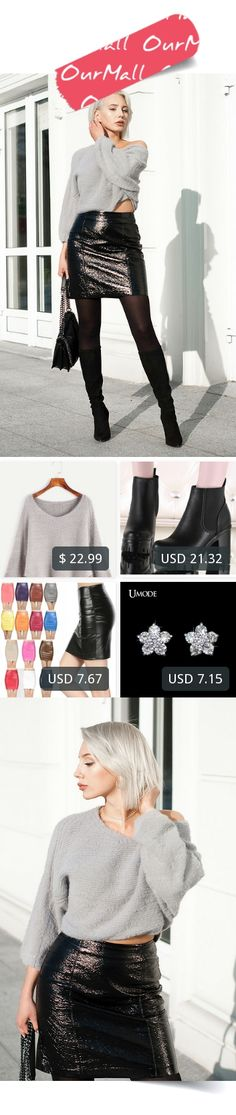This is MONIKA S's buyer show in OurMall;  1.Grey Batwing Sleeve Slit Side Fuzzy Sweater 2.Winter Women Genuine Leather Boots Fashion Thick Heel Platform Ankle Boots England Style 3. Fashion Women Skirts PU faux leather skirts tight stretch female 4.Female Jewelry Earring... please click the picture for detail. http://ourmall.com/?3qyeY3