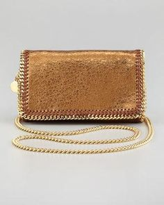 Stella McCartney Crackled Metallic Crossbody Bag, Green