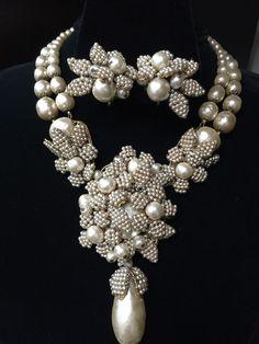"Rare! Vintage, Signed Miriam Haskell ""Pearl Fantasy"" Bib & Earring Set, Demi #MiriamHaskell"