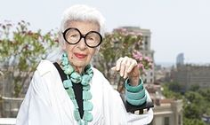 """""""I think when you're paying $15,000 for a dress you're entitled to a pair of sleeves': Iris Apfel at Barcelona's Mandarin Oriental hotel for fashion week."""