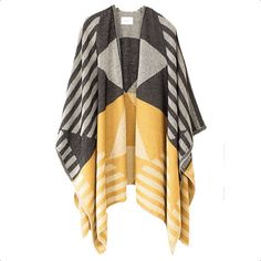 Black And Gold Pattern Shawl Poncho (£139) ❤ liked on Polyvore featuring outerwear, sita murt, poncho shawl, pattern poncho and shawl poncho