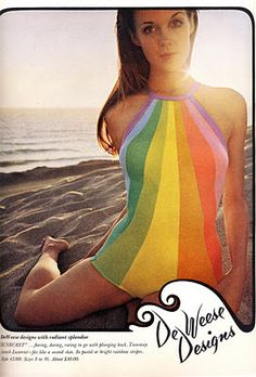 "The rainbow swimsuit by De Weese Designs - ""taste the rainbow"" <3"