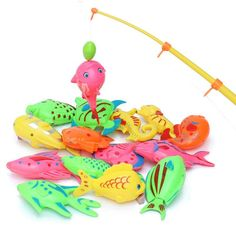 5pcs/lot Learning & education magnetic fishing toy comes outdoor fun & sports fish toy gift for baby/kid with fishing rod WYQ