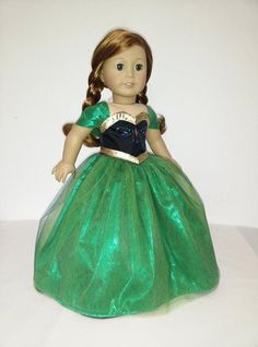 Turn your doll into Princess Anna with this beautiful detailed dress made with satin, sequin and shiny organza fabric, full lined and Velcro closure. This listing is for the dress and corset only. The