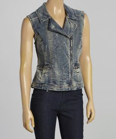 Look what I found on #zulily! Medium Wash Asymmetrical Denim Vest - Women by Live A Little #zulilyfinds