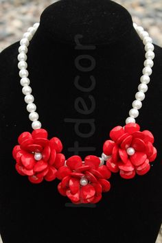 Red Flower Bubble Pearl necklace Rose Statement by HotDecor, $12.99