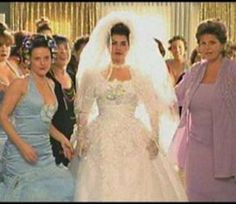 Over the top wedding fashions from My Big Fat Greek Wedding...