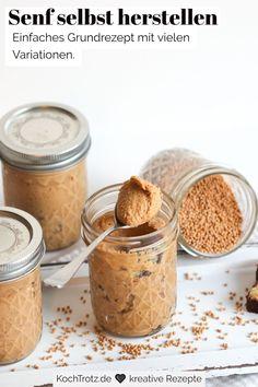 Das perfekte Geschenk aus der Küche: Selbstgemachter Senf! Mit diesem einfachen Rezept zeige ich dir, wie du in wenigen Schritten, mit wenigen Zutaten und ganz einfach mit dem Pürierstab oder dem Kenwood Cooking Chef deinen eigenen Senf herstellen kannst. Selbstgemachter Senf hat eine bessere Verträglichkeit, ist histaminarm und fructosearm, glutenfrei, laktosefrei, low-carb. Das Rezept enthält verschiedene Varianten, mit denen du beispielsweise deinen eigenen Kräuter-Senf machen kannst. Kenwood Cooking, Chef, Peanut Butter, Low Carb, Gluten Free Cooking, Gluten Free Recipes, Homemade Mustard, Food Items, Food Food