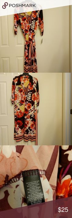 """In The Garden Lovely dress. Wear with or without belt.  Can fit size 1X or 2X as material has great stretch.   Length 43"""", Armpit to armpit 26"""" Mlle Gabrielle Dresses Midi"""