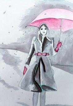 Impression Illustration mode de fille porter Burberry dans la neige par Helen Simms