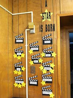 Fantastic First Grade Froggies: Hollywood Theme Fun- A star is born birthday board