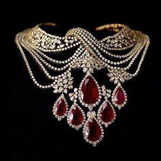 """nice Sara Zafar on Instagram: """"Beautiful diamonds ruby necklace by @farahkhanfinejewellery #jewelrydiamonds"""