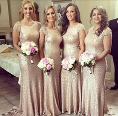 champagne bridesmaid Dress,long bridesmaid Dress,sequin bridesmaid dress,short sleeves bridesmaid dress,PD130