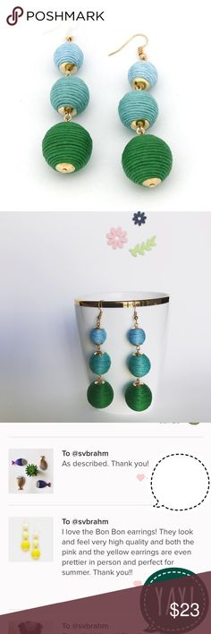 """Triple Threaded Ball Les Bon Bon Earrings- GREEN These trendy ombré crispin earrings are fun and light weight, making it easy to turn a simple outfit into festive. Delicate gold detail and fish hook closures. Size : 0.8"""" X 3"""".Oscar de la Renta and Baublebar have similar pairs but are much more expensive! Other colors available and will bundle any two for 15% off! Jewelry Earrings"""
