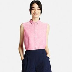 WOMEN PREMIUM LINEN SLEEVELESS SHIRT, #uniqlo