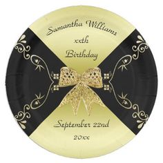 Stylish Gold & Black Decorative Bow Birthday Paper Plate - paper gifts presents gift idea customize