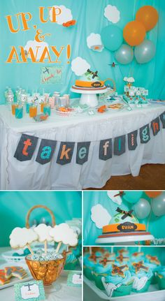 Una preciosa mesa para una fiesta aviones! / A lovely table design for an airplane party!